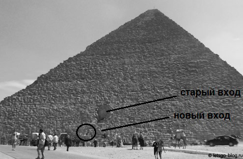 Вход в пирамиду Хеоса. Схема