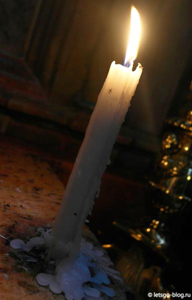 Храм Гроба Господня, свеча от Благодатного Огня