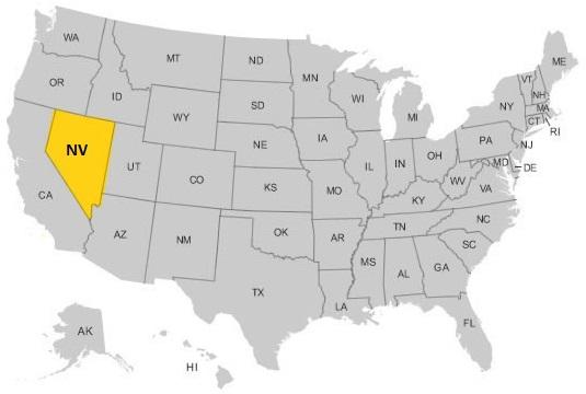 Невада на карте США