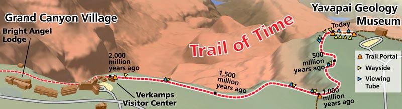 Большой каньон, схема Trail of Time (Дорога Времени)