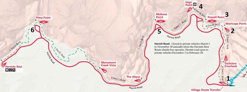 Обзорные площадки Большого каньона (Южный Рим). Западная часть красный автобусный маршрут