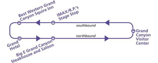 Автобусы на Большом каньоне, Фиолетовый маршрут – Purple route