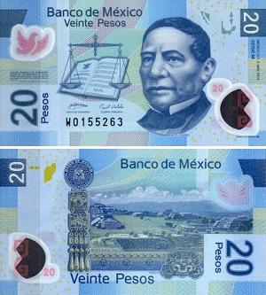 Купюра 20 песо Мексика