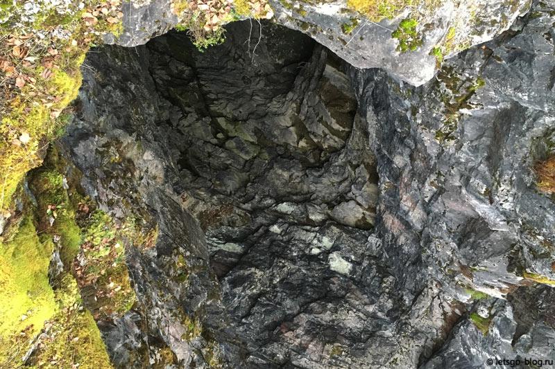 Мраморный каньон Рускеала. Штольня