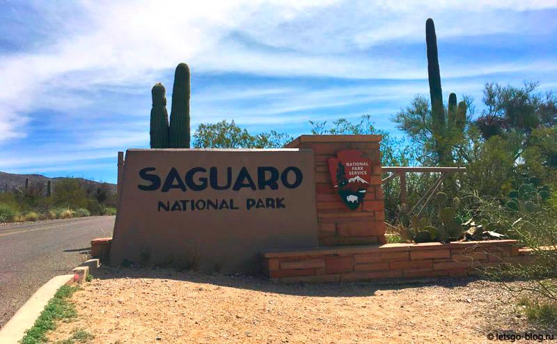 Въезд в кактусовый парк Сагуаро