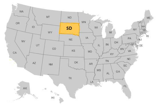 Южная Дакота на карте США