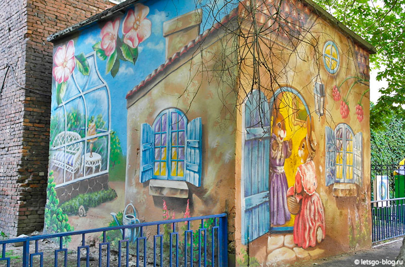 Зайчики на трансформаторной будке граффити