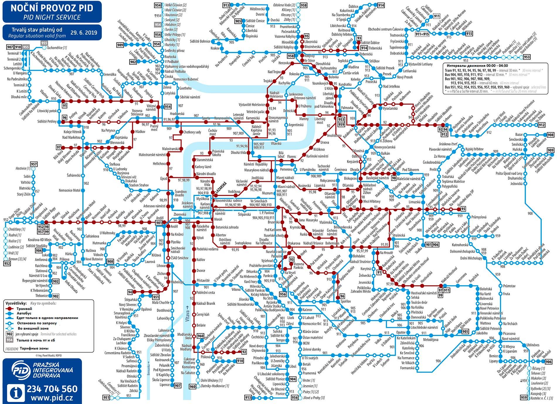 Схема ночных маршрутов в Праге