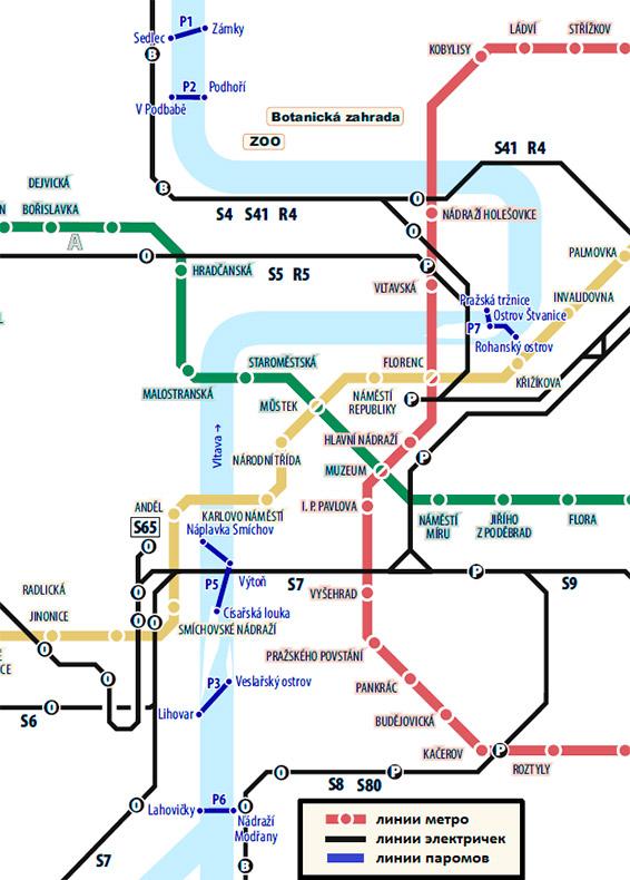 Схема движения паромов Прага